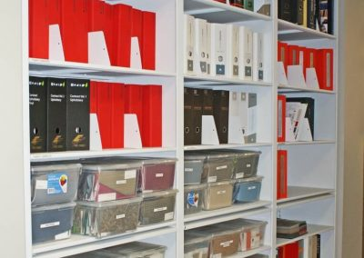 toronto-interior-design-company-reference-material-on-4-post-shelving-with-pull-out-reference-shelves